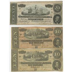 C.S.A. 1864 Banknote Trio.