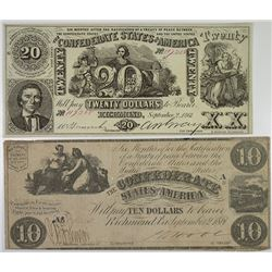C.S.A., 1861, $10 and $20 Banknote Pair.