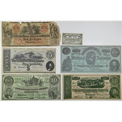 C.S.A., 1861-1864 Quintet of Advertising, Facsimile, and Counterfeit Issues.