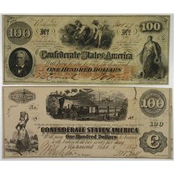 C.S.A., 1862. $100 Banknote Pair.