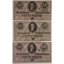 C.S.A., 1862, 50 Cents Banknote Trio.