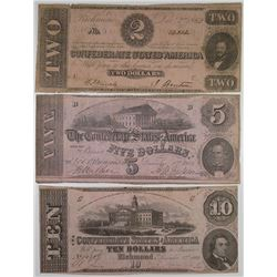 C.S.A., 1862, $2, $5, and $10 Banknote Trio.