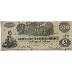 C.S.A., 1862, $100 Banknote.