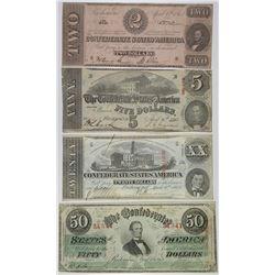 C.S.A., 1864, $2, $5, $20, $50 Banknote Quartet.