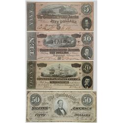 C.S.A., 1864, $5, $10, $20 and $50 Banknote Quartet.