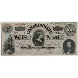 C.S.A., 1864 $100 Banknote.