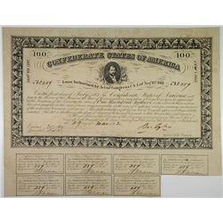 Confederate States Bond. $100. 1862. Cr.28, B-51.