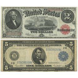 U.S. 1914, FRN & 1917, Legal Tender Pair.