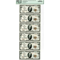NV. First National Bank in Reno, $10 Uncut Sheet of 6 Notes, 1929 T2, Fr.# 1801-2, CH# 7038, PCGS Ch