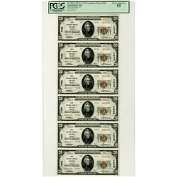 NV. First National Bank in Reno, $20 Uncut Sheet of 6 Notes, 1929 T2, Fr.# 1802-2, CH# 7038, PCGS Ch