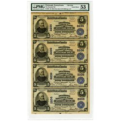 PA. Diamond National Bank of Pittsburgh, $5, Uncut Sheet of 4 Notes, 1902 PB, Fr#605, CH#2236, PMG A