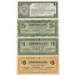 Clarinda Chamber of Commerce & County of Guilford.  1933. Quartet of Depression Scrip Notes.