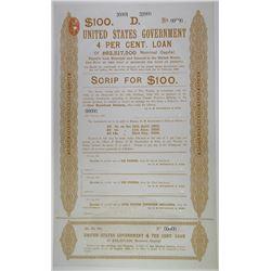 United States Government 4% Loan, Scrip for $100, 1895 Specimen Bond.