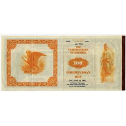 United States of America Liberty Loan Bond of 1917 $100.00, 3 1/2 % Gold Coupon Bond of June 15, 191