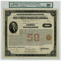 United States of America $50.00, Second Liberty Loan 4.00% 10/25 Gold Coupon Bond of 1917 'Registere