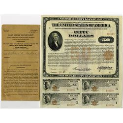 "United States of America $50.00, Second Liberty Loan 4.00% 10/25 Gold Coupon Bond ""Bearer Series"" of"