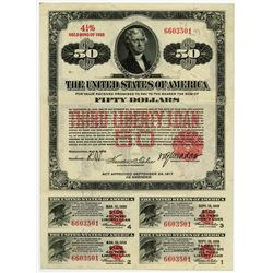 "United States of America $50.00, Third Liberty Loan 4 1/4% ""Short"" Gold Bond of 1928."