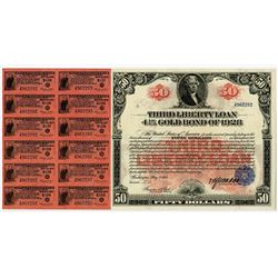 "United States of America $50.00, Third Liberty Loan 4 1/4% ""Long Coupon"" Gold Bond of 1928."