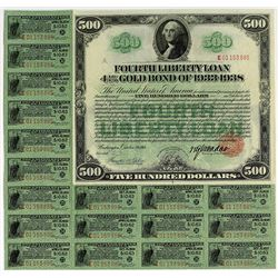 United States of America $500.00, Fourth Liberty Loan Gold Bond of 1933-1938. Issued October 24, 191