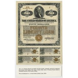 United States of America $50.00,  Serial Number 1  Fourth Liberty Loan  Short  Gold Bond of 1933-193