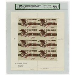 U.S. Gas Coupon - U.S. Department of Energy ND (ca.1970's) Specimen Uncut Sheet of 8.