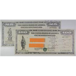 """U.S. Savings Bond, 1999-1970, Pair of """"Freedom Share"""" Savings Notes."""