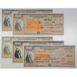 U.S. Savings Bond, Series EE, 1982-2008 $50 Bond Quintet Signed by 5 Different Treasury Secretaries.