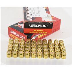 100 Rounds American Eagle 45 Auto 230 Grn FMJ