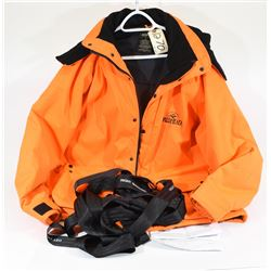 Blaze Orange Hunting Coat and Body Harness