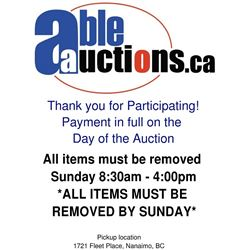 ALL ITEMS MUST BE REMOVED BY SUNDAY 4:00PM