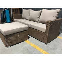 "BROWN PATIO SOFA 78"" WITH STOOL"