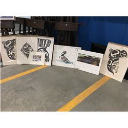 SET OF NATIVE ART PRINTS 8 PC - STAND NOT INCLUDED