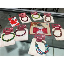 ASSTD OF SHERPA BEADED BRACELETS, CDN LUGGAGE TAG & IRON ON FLAGS