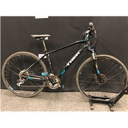 BLACK AND BLUE TREK DUAL SPORT 24 SPEED FRONT SUSPENSION TRAIL BIKE WITH FRONT AND REAR DISC