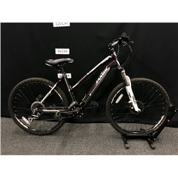 PURPLE JAMIS TRAIL X2 24 SPEED FRONT SUSPENSION HYBRID TRAIL BIKE WITH FRONT AND REAR DISC BRAKES,