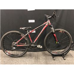 RED AND GREY GIANT TALON 27 SPEED FRONT SUSPENSION MOUNTAIN BIKE WITH REAR HYDRAULIC DISC BRAKE,