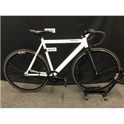 WHITE AND BLACK RETROSPEC DROME SINGLE SPEED ROAD BIKE, FRONT BRAKE ONLY