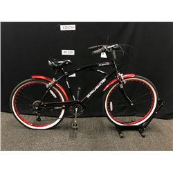 BLACK KENT BAYSIDE 7 SPEED CRUISER BIKE
