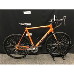 ORANGE KONA JAKE CX 20 SPEED ROAD BIKE WITH FRONT AND REAR DISC BRAKES, 59 CM FRAME SIZE
