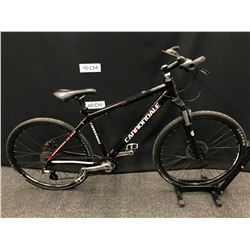 BLACK CANNONDALE 14 SPEED FRONT SUSPENSION TRAIL BIKE WITH FRONT AND REAR HYDRAULIC DISC BRAKES,