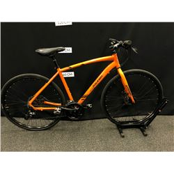 ORANGE RALEIGH MISCEO 24 SPEED HYBRID TRAIL BIKE WITH FRONT AND REAR DISC BRAKES