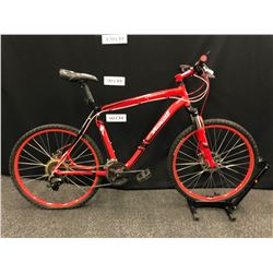"""RED SPECIALIZED 24 SPEED FRONT SUSPENSION MOUNTAIN BIKE WITH FRONT AND REAR DISC BRAKES, 21"""" FRAME"""