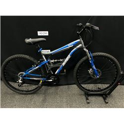BLUE AND GREY AVIGO MOUNTAIN RIDGE 18 SPEED FULL SUSPENSION MOUNTAIN BIKE WITH FRONT AND REAR DISC