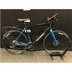 BLACK AND BLUE RALEIGH CADENT 27 SPEED HYBRID TRAIL BIKE WITH FRONT AND REAR HYDRAULIC DISC BRAKES
