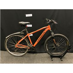 ORANGE ORBEA MX29 21 SPEED FRONT SUSPENSION TRAIL BIKE WITH FRONT AND REAR HYDRAULIC DISC BRAKES,