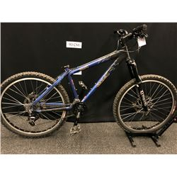 BLUE AND BLACK BRODIE BRUZZA 16 SPEED FRONT SUSPENSION MOUNTAIN BIKE WITH FRONT AND REAR HYDRAULIC