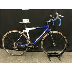 BLUE AND WHITE ROCKY MOUNTAIN SOLO 10 16 SPEED ROAD BIKE, 52 CM FRAME SIZE