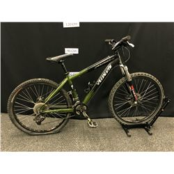 BLACK AND GREEN SPECIALIZED HARDROCK COMP 24 SPEED FRONT SUSPENSION MOUNTAIN BIKE WITH FRONT AND
