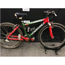GREEN AND RED KONA KING KIKAPU 3 SPEED FULL SUSPENSION MOUNTAIN BIKE, REAR GEARS REMOVED, FRONT
