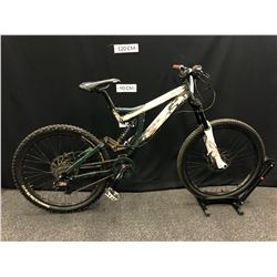 GREEN AND GREY SPECIALIZED 8 SPEED FULL SUSPENSION MOUNTAIN BIKE WITH FRONT AND REAR HYDRAULIC DISC